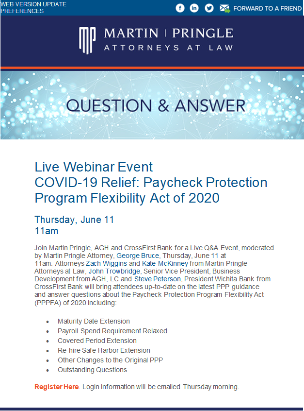 Live Webinar Event COVID-19 Relief: Paycheck Protection Program Flexibility Act of 2020