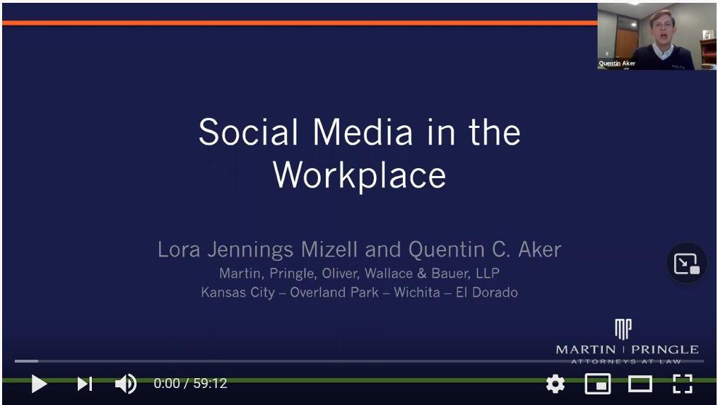 Employment Law Webinar: Social Media in the Workplace