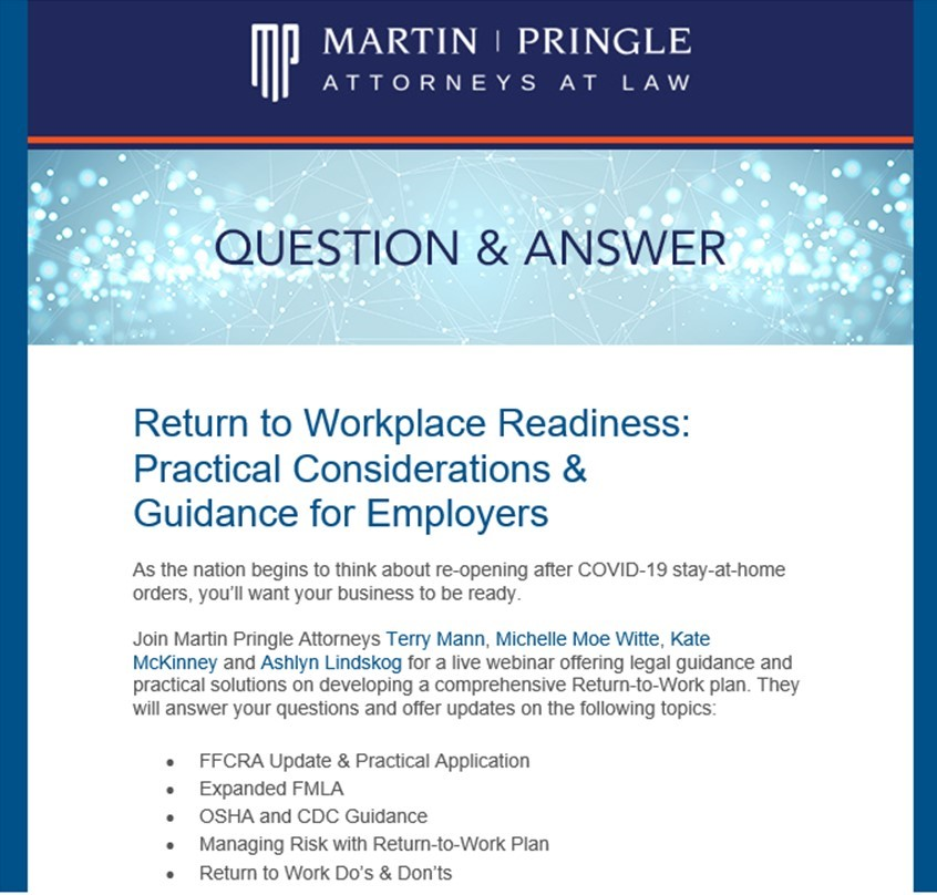 Live Webinar Event: Return to Workplace Readiness: Practical Considerations & Guidance for Employers